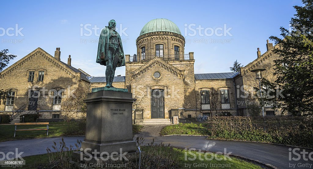Tycho Brahe in front of Copenhagen University Astronomical Observatory. stock photo