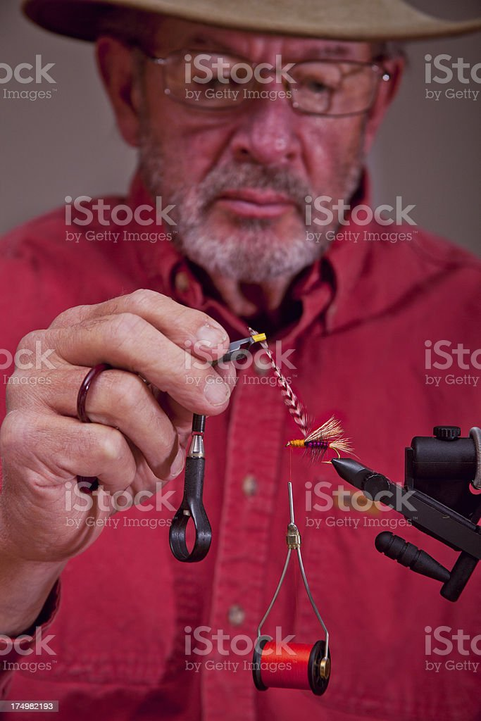 Tying a Trout Fly stock photo