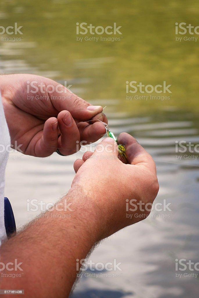 Tying Fishing Lure stock photo