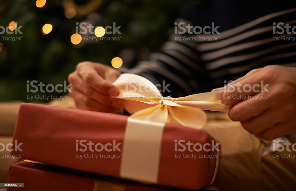 Tying the knot at Christmas stock photo