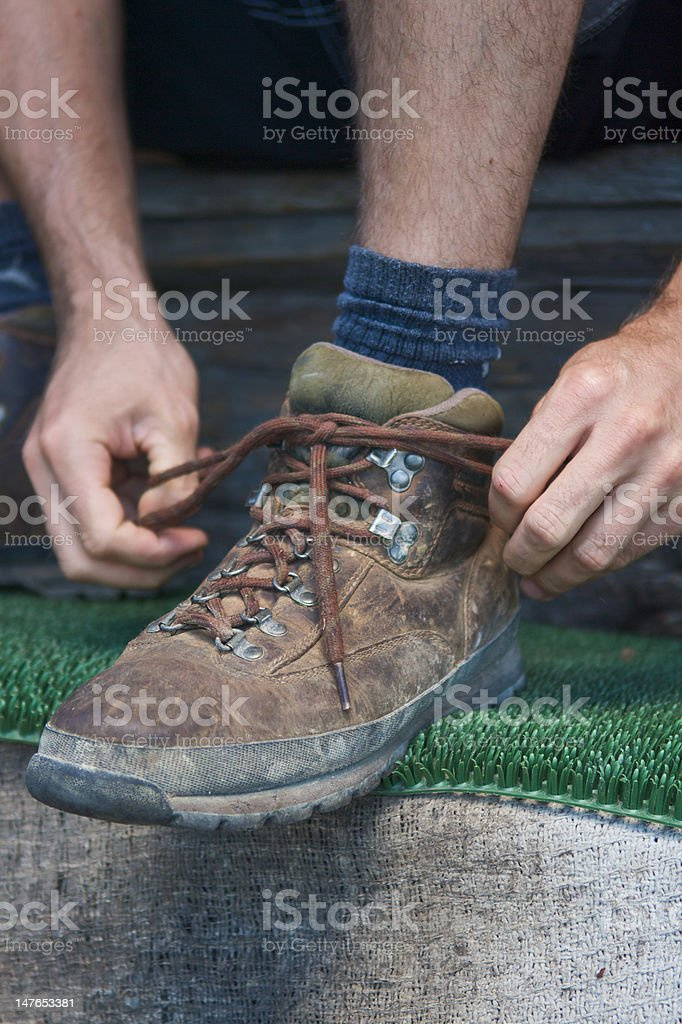 Tying up Shoes stock photo