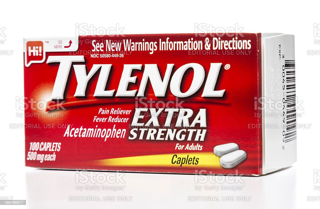 Tylenol Extra Strength for adults box stock photo