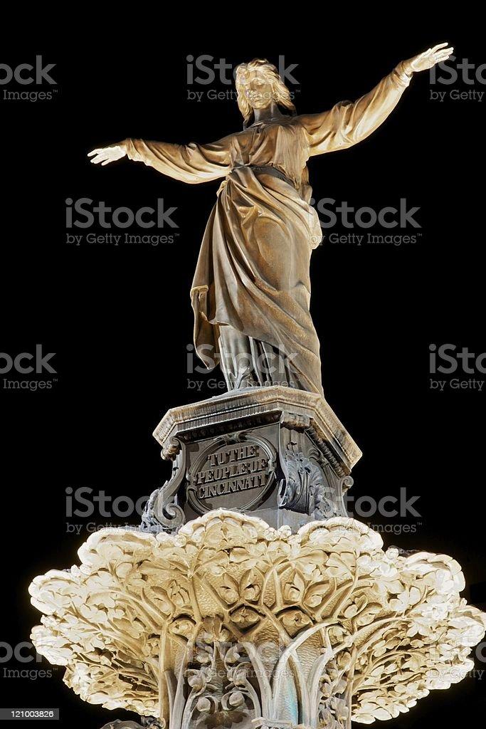 Tyler Davidson Statue, Fountain Square, Cincinnati stock photo