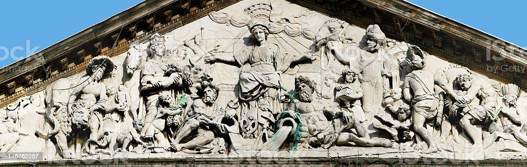 Tympanum of Royal Palace in Amsterdam XXL royalty-free stock photo