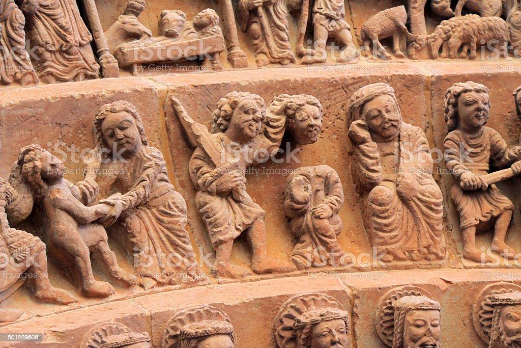 Tympanum of Santo Domingo church in Soria, Spain stock photo