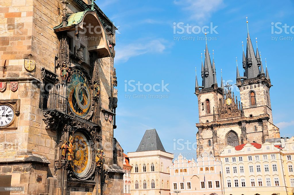 Tyn Cathedral and Astronomical Clock on Prague Town Square stock photo