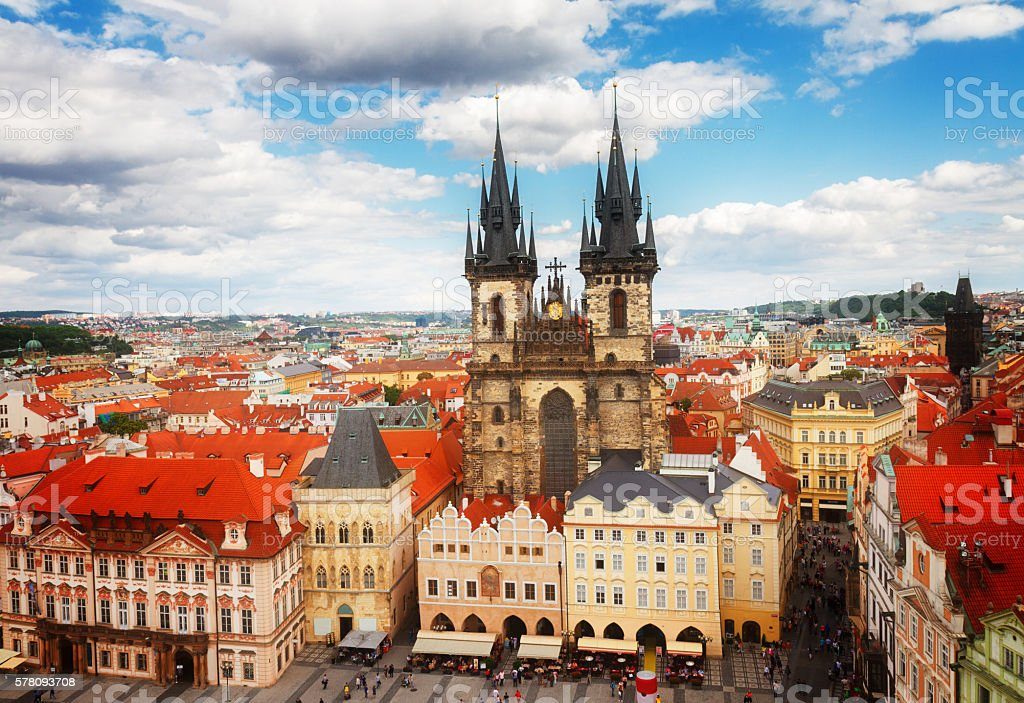 Tyn cathedral at market square stock photo