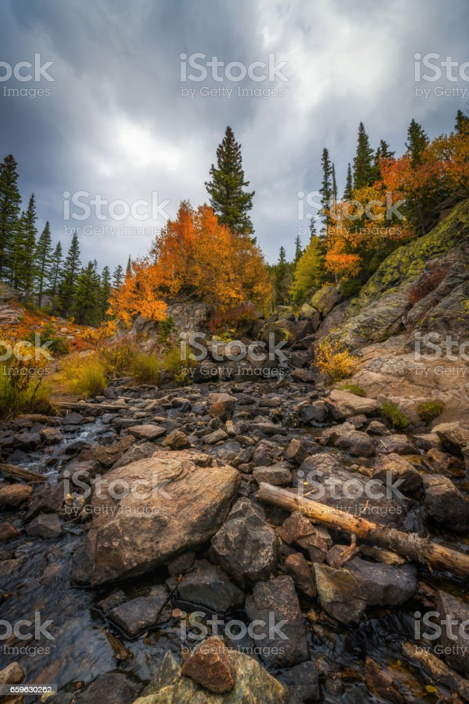 Tyndall Creek in Rocky Mountains National Park stock photo