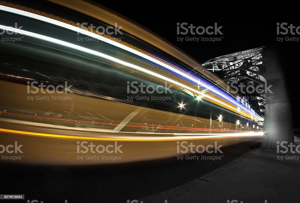 Tyne Bridge and Bus Light Trails stock photo