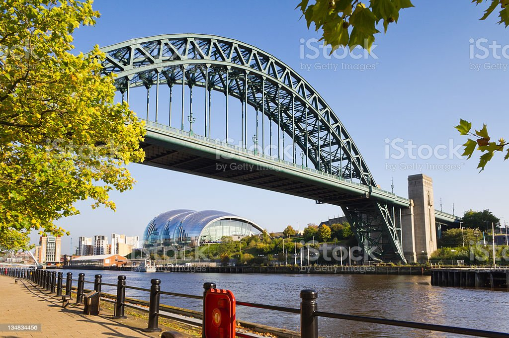 Tyne bridge framed with leaves stock photo