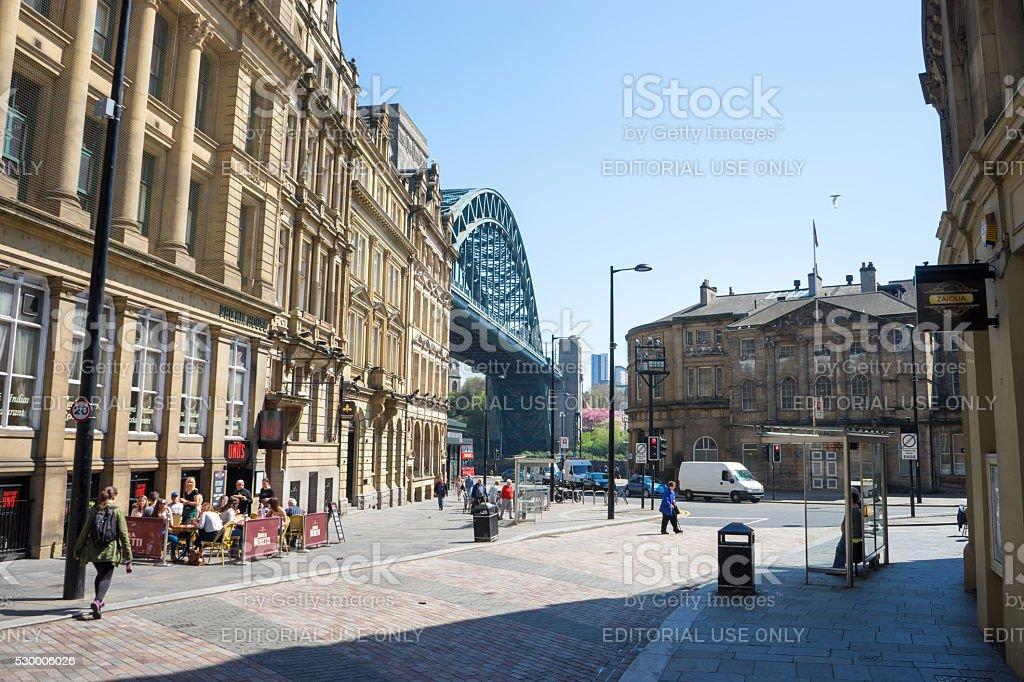 Tyne Bridge from Newcastle Quayside stock photo