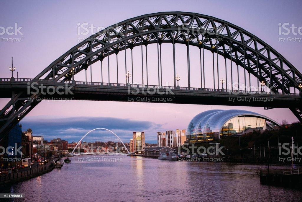 Tyne Bridge in Newcastle, England at dusk stock photo