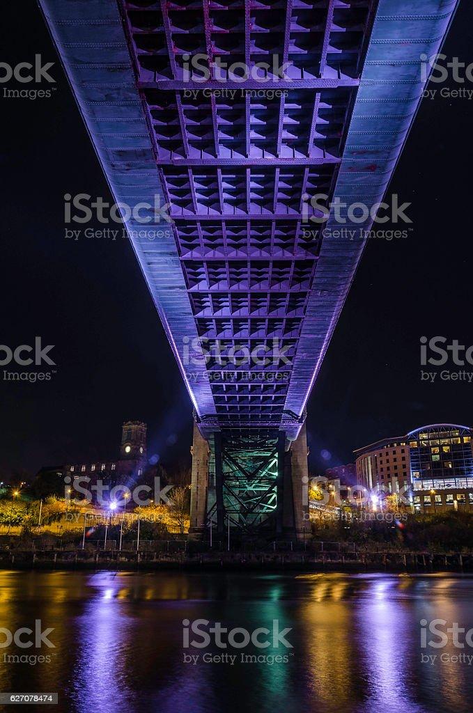 tyne bridge shot from the under side at night stock photo