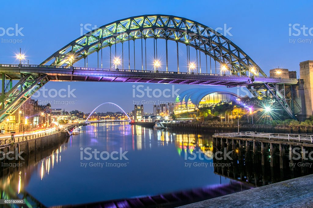 Tyne Bridge sunset stock photo