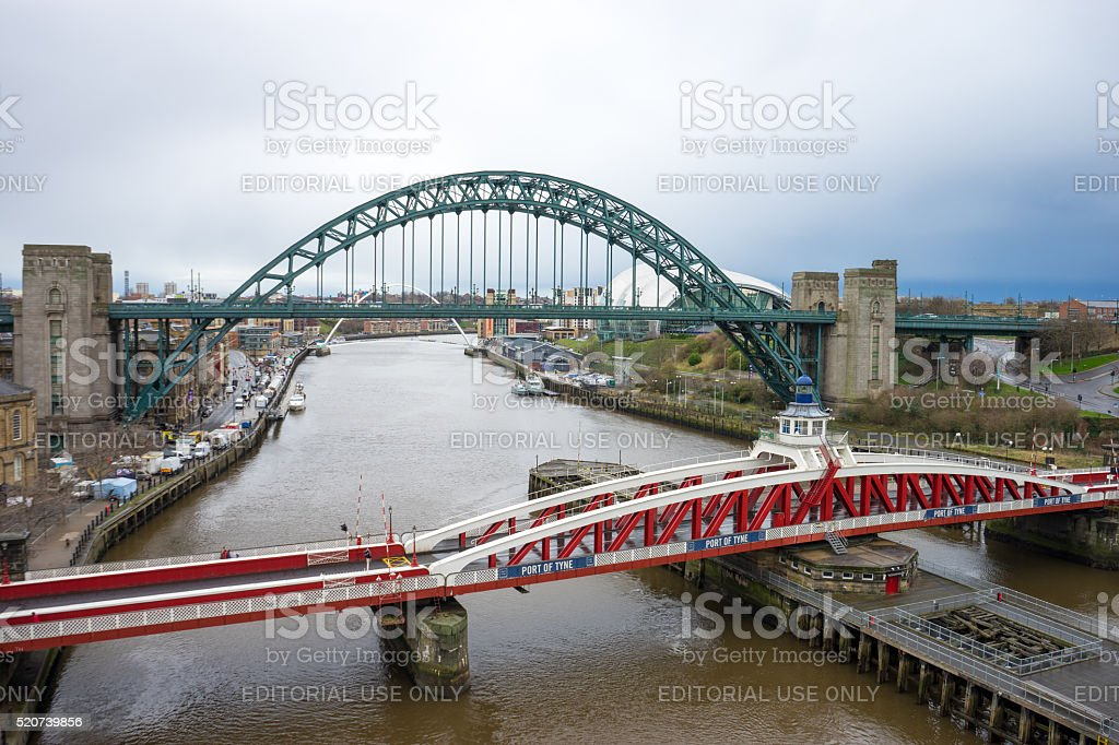 Tyne Bridge & Swing Bridge stock photo