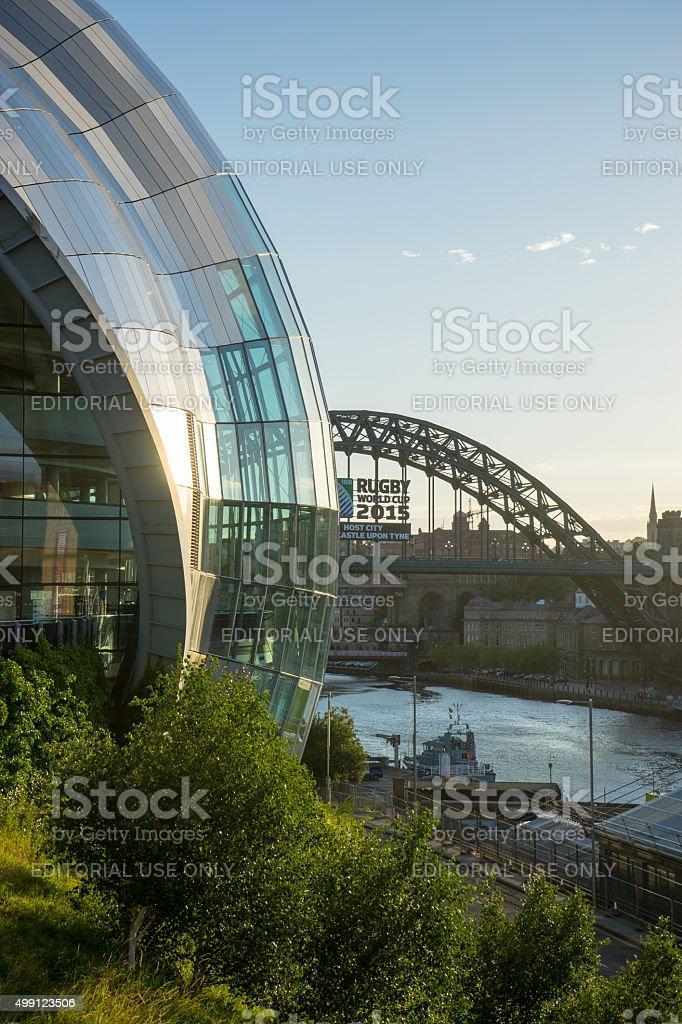 Tyne Bridge with Rugby 2015 ad - Sage Gateshead stock photo