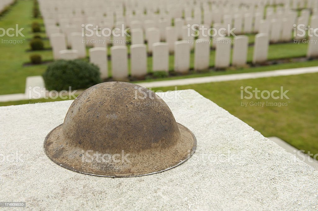 Tyne Cot Cemetery & British Helmet stock photo