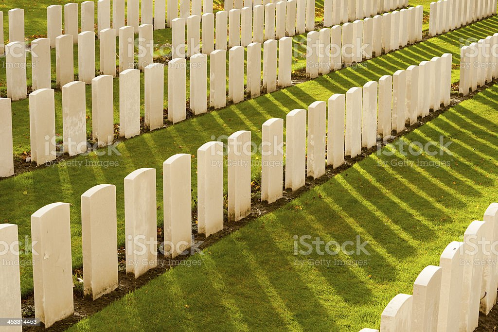 Tyne Cot Cemetery in Ypres world war belgium flanders stock photo