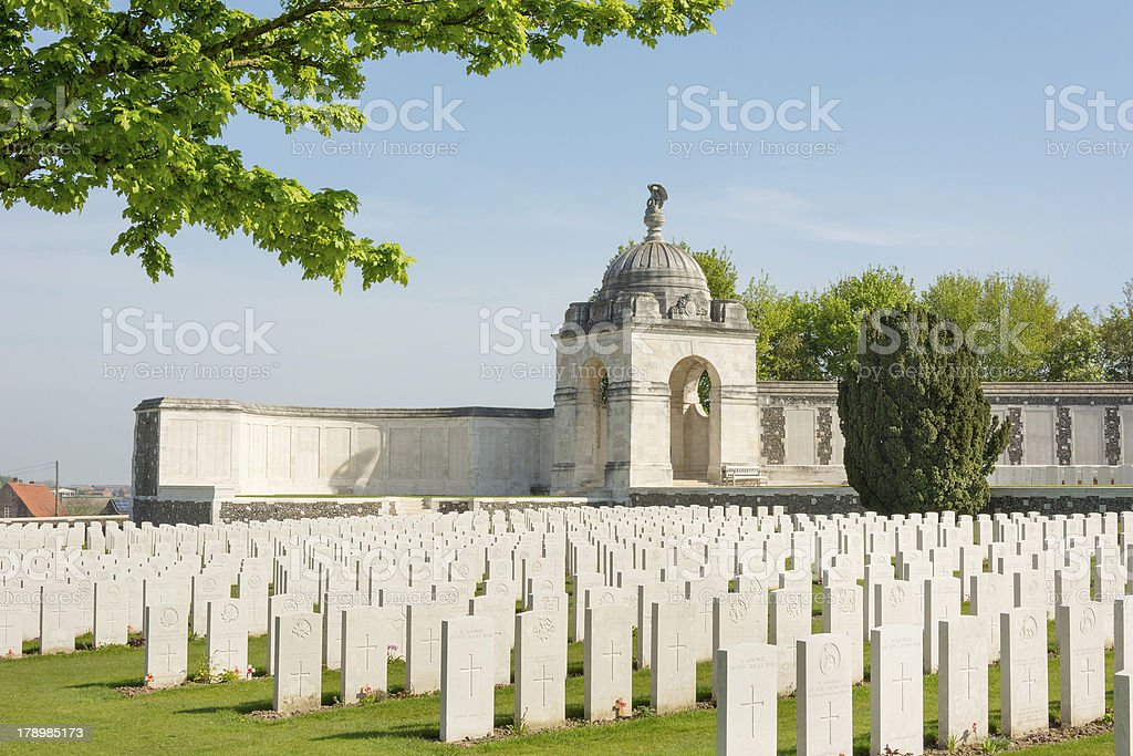 Tyne Cot Commonwealth Memorial near Ypres stock photo