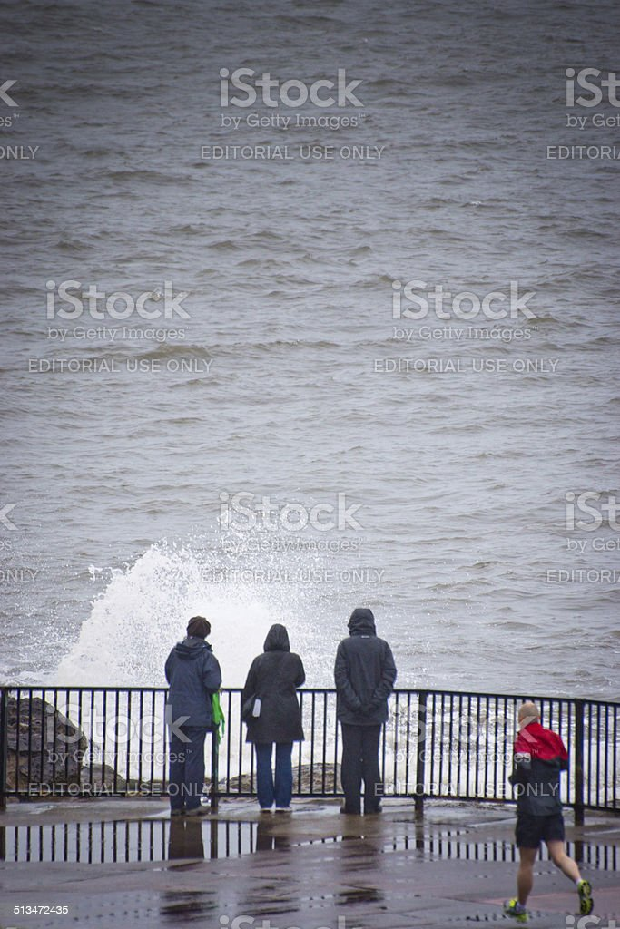 Tynemouth and walkers stock photo