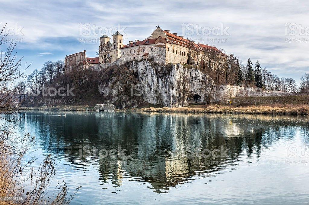 Tyniec Abbey beyond the Vistula river, Poland stock photo