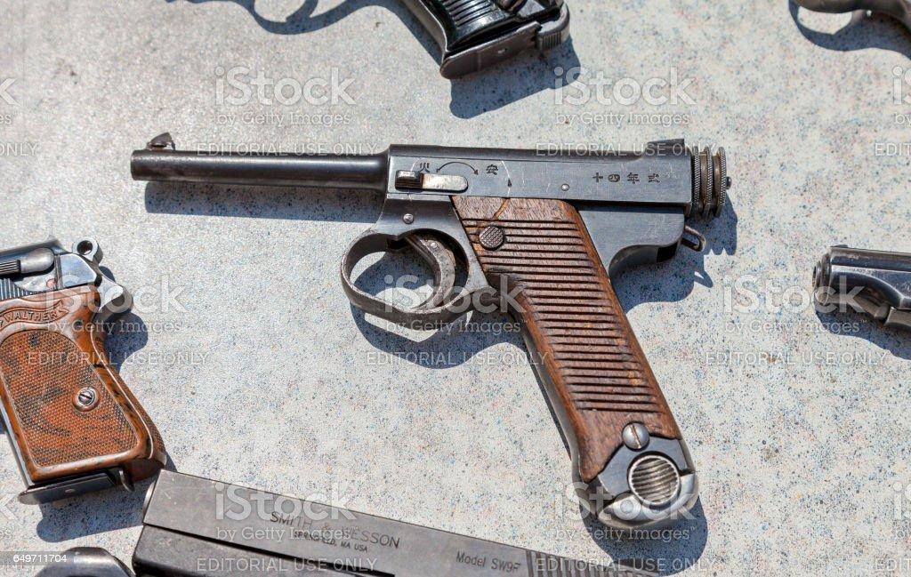 Type 14 Nambu WW2 Imperial Japanese Army 8mm Pistol stock photo