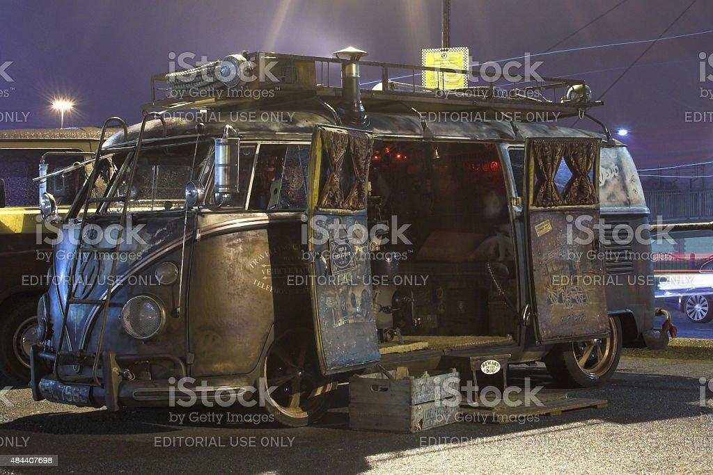 VW Type 2 Bus at night stock photo