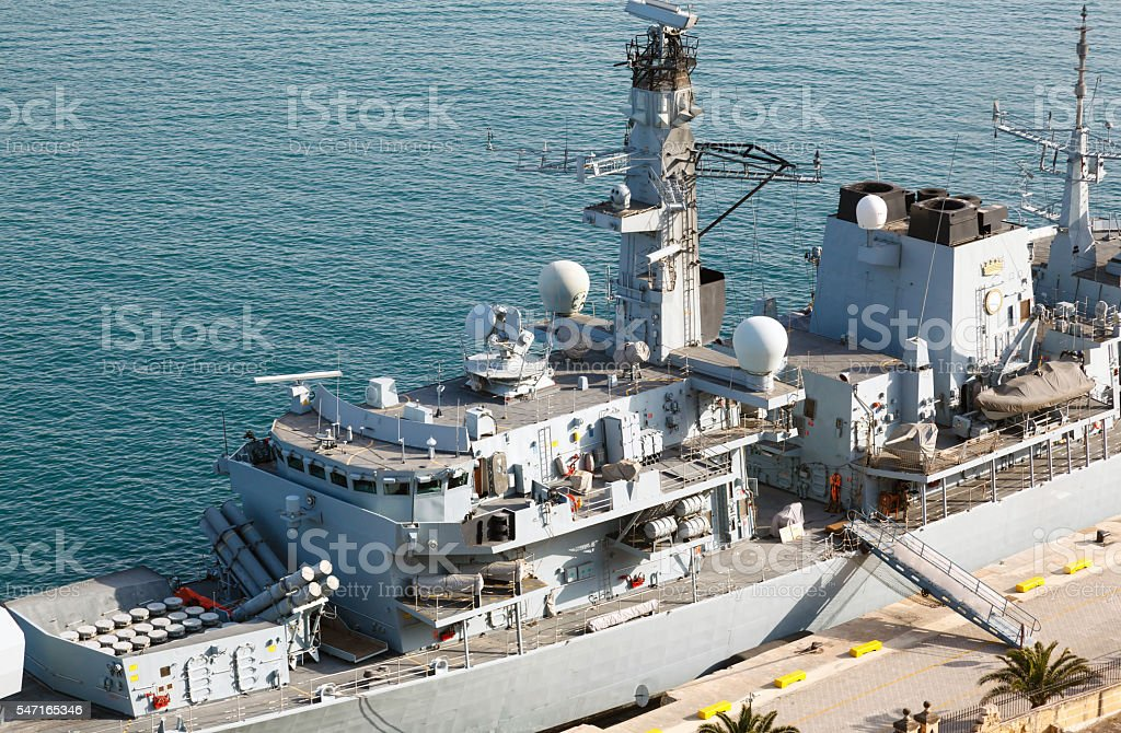 Type 23 frigate in the Malta Grand Harbor stock photo