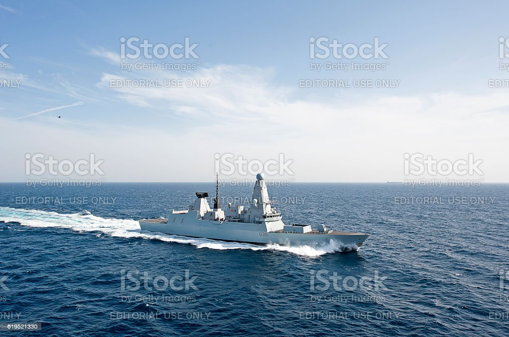 Type 45 at speed, Arabian Sea stock photo