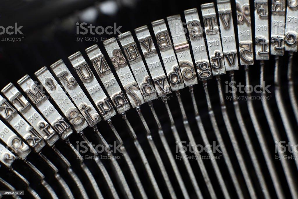 Type bars of typewriter stock photo