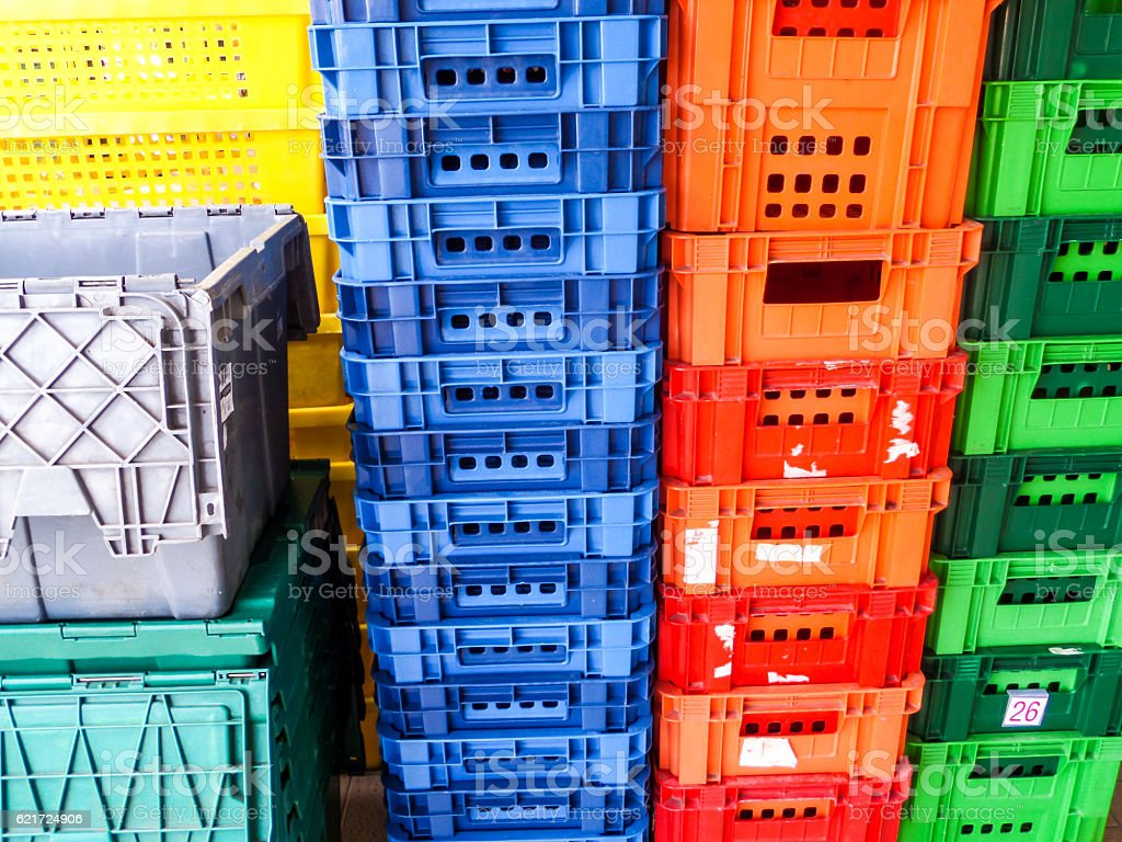 type of crate plastic box use to packaging stock photo