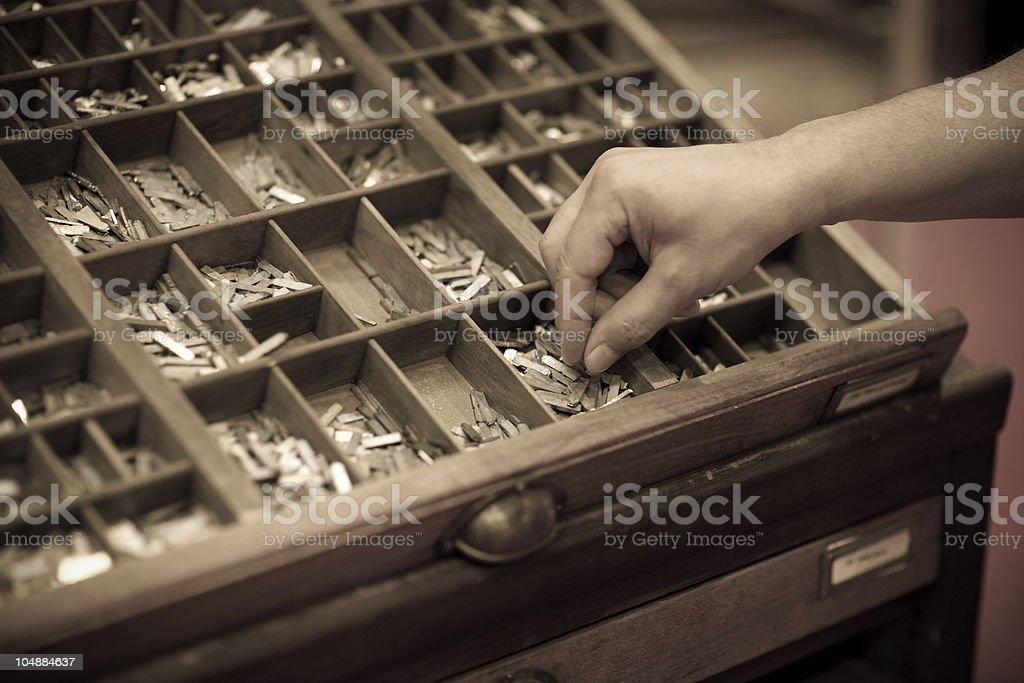 Type setting workshop royalty-free stock photo