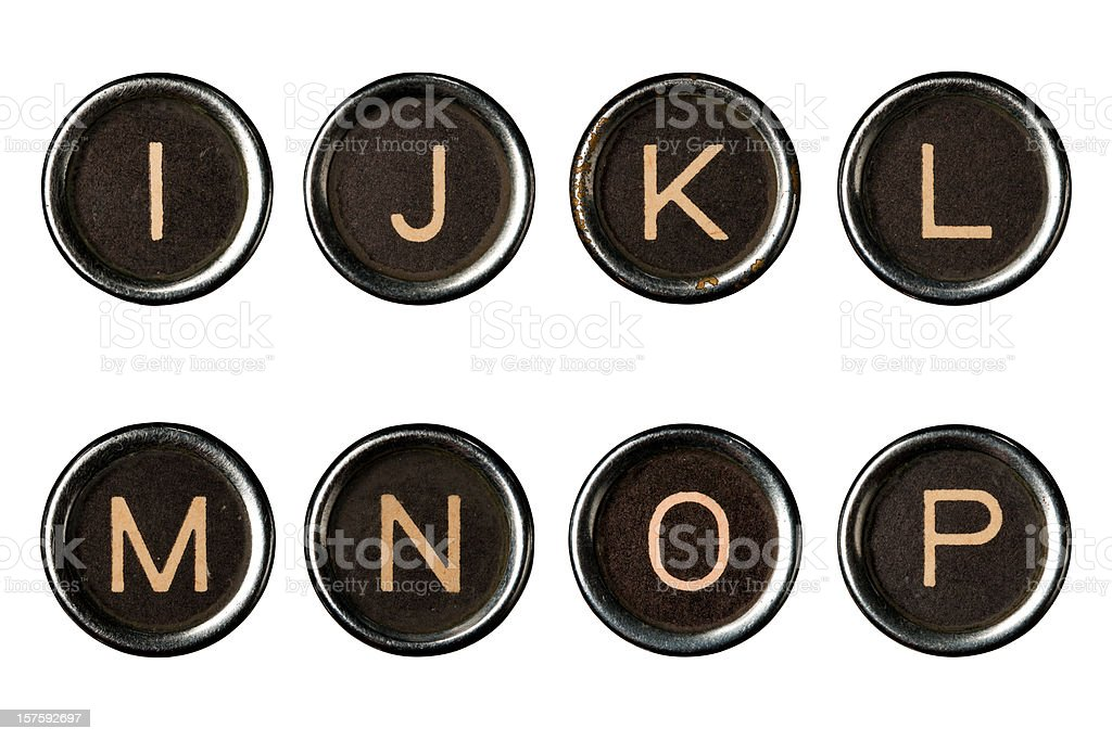 Type writer keys alphabet with clipping paths royalty-free stock photo