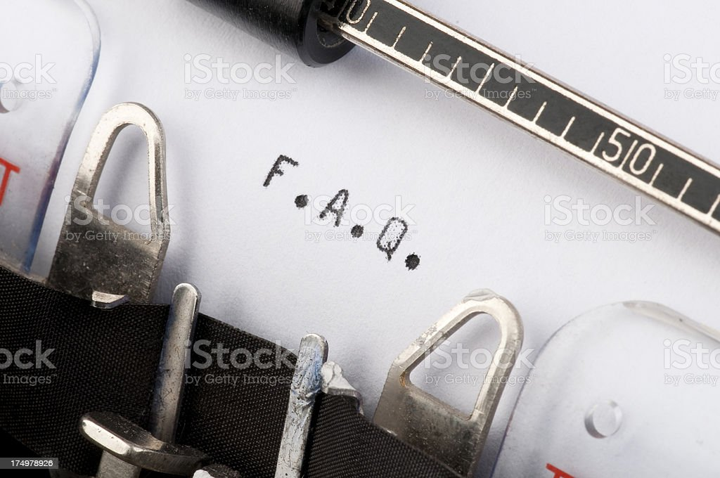 F.A.Q. typed on old typewriter royalty-free stock photo