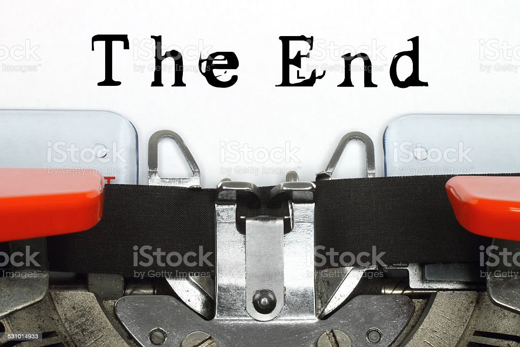 Typed The End words stock photo