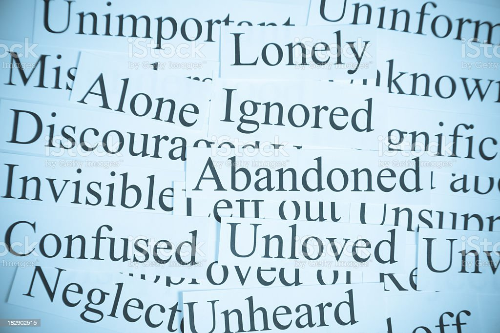 Typed words spread out main theme to domestic violence  royalty-free stock photo
