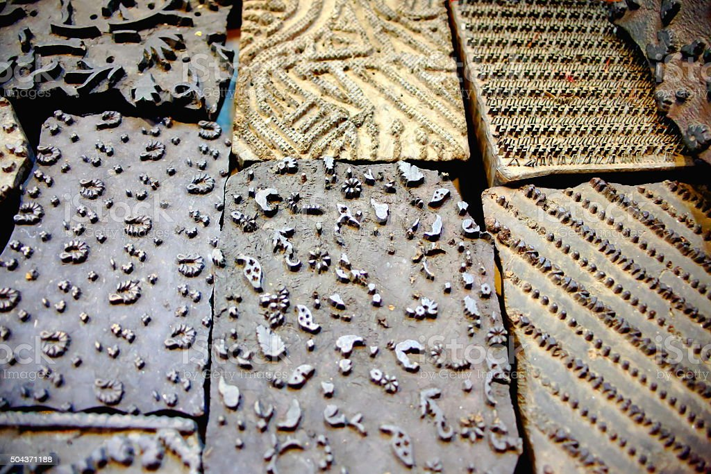 Types for woodblock printig. Kathmandu-Nepal. 2016 stock photo