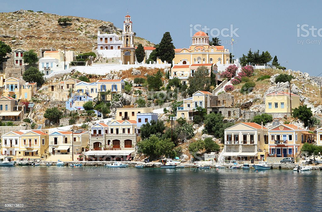 Types of capital of the island of Symi 2 stock photo