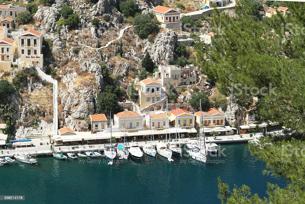 Types of capital of the island of Symi 3 stock photo