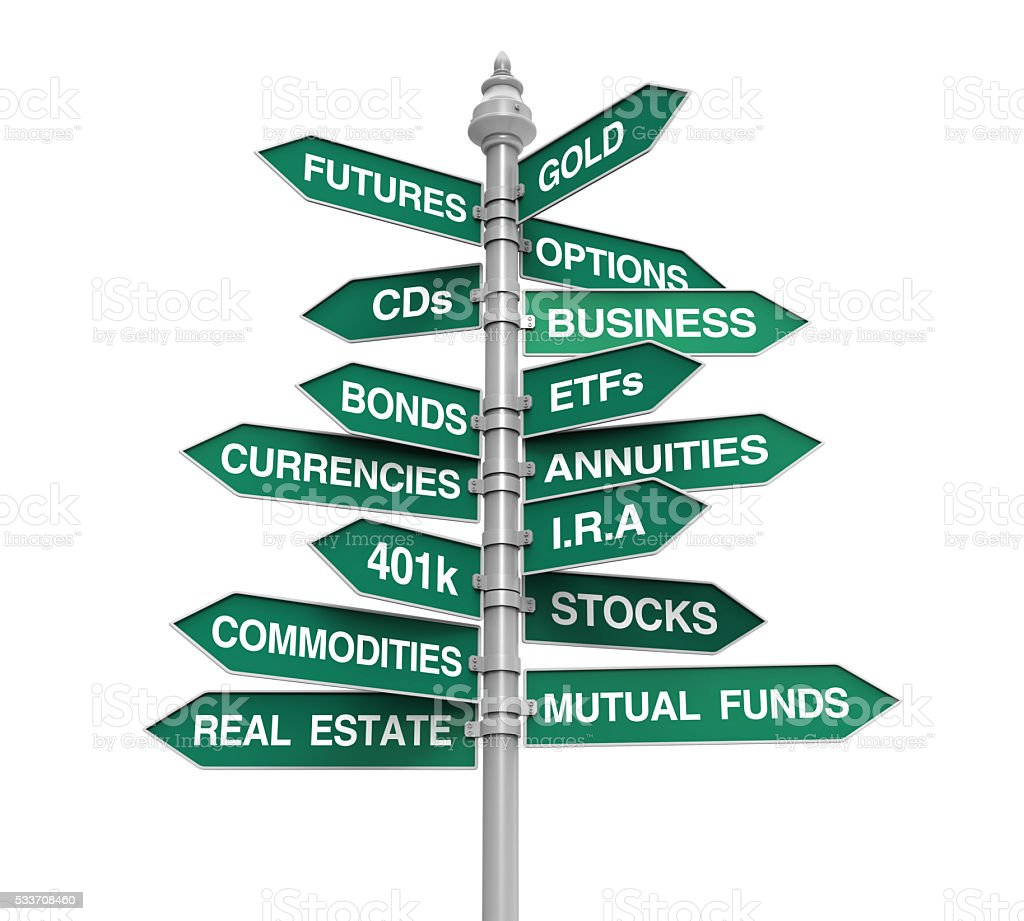 Types of Investments Direction Sign stock photo