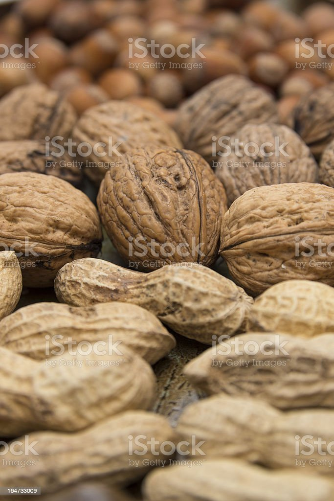 Types of nuts stock photo