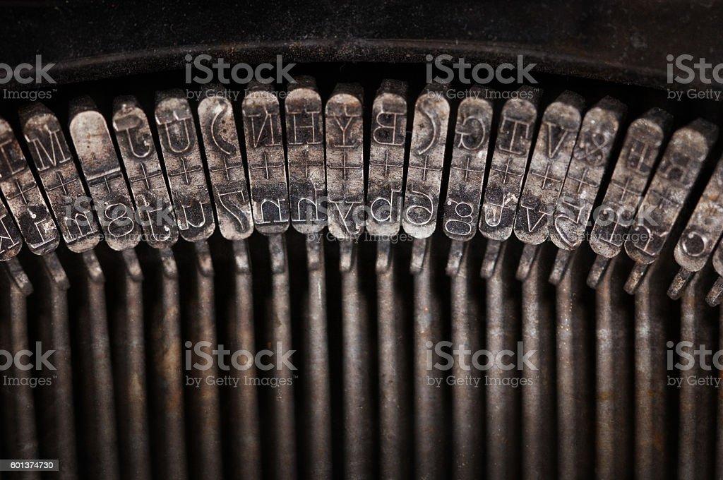 Types of vintage typewriter close-up stock photo