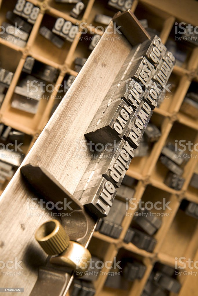 Typesetter's composing stick royalty-free stock photo
