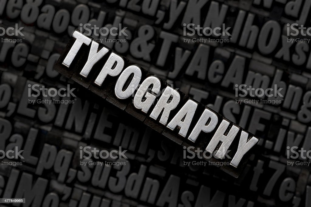 TYPOGRAPHY - Typesetting Blocks stock photo