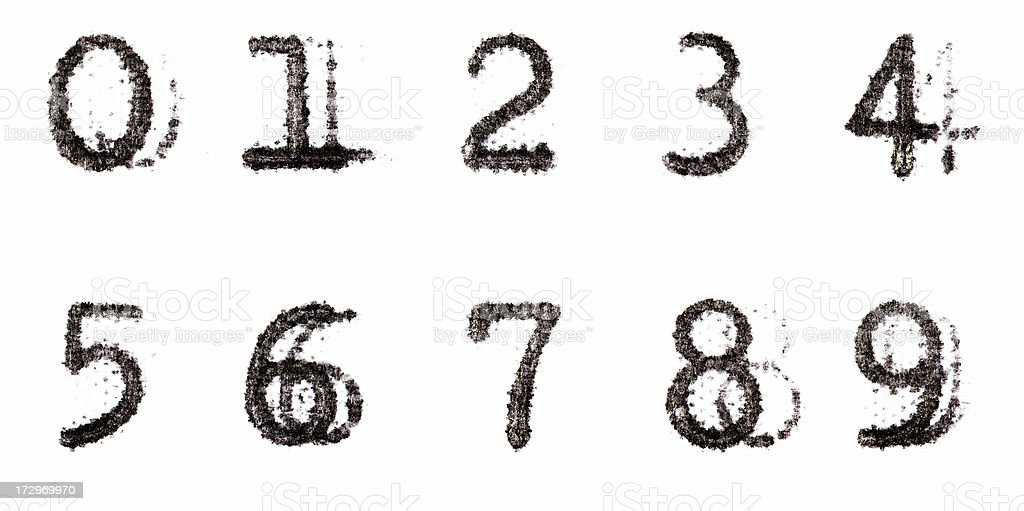 Typewriter Alphabet 0-9 numbers stock photo