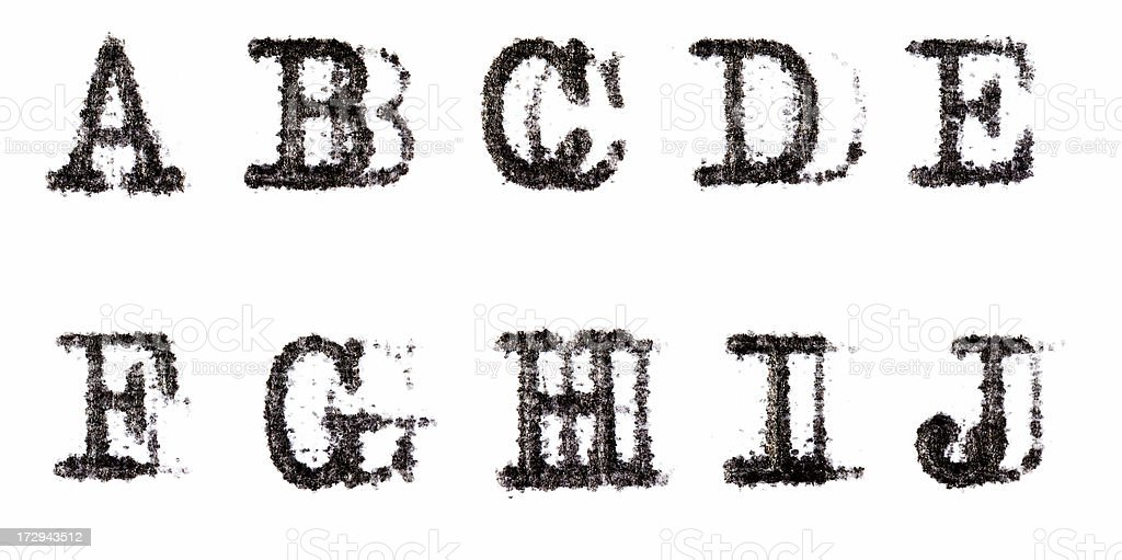 Typewriter Alphabet A-J stock photo