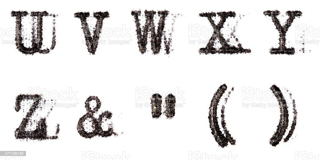 Typewriter Alphabet U-Z and extra chars stock photo