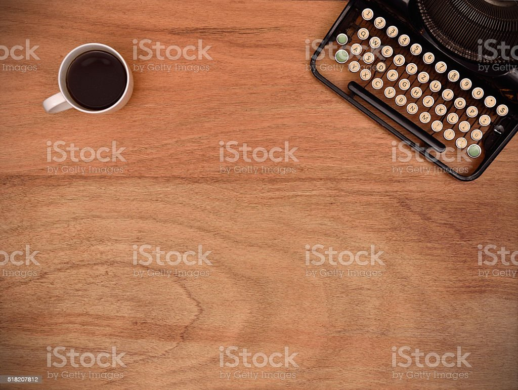 typewriter and coffee cup stock photo