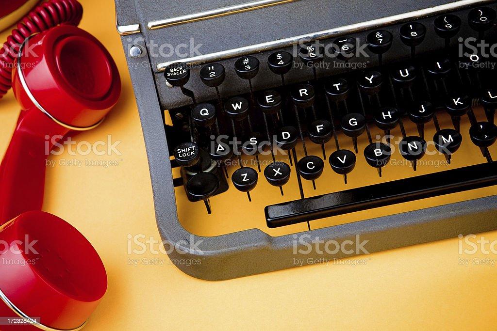 typewriter and telephone royalty-free stock photo