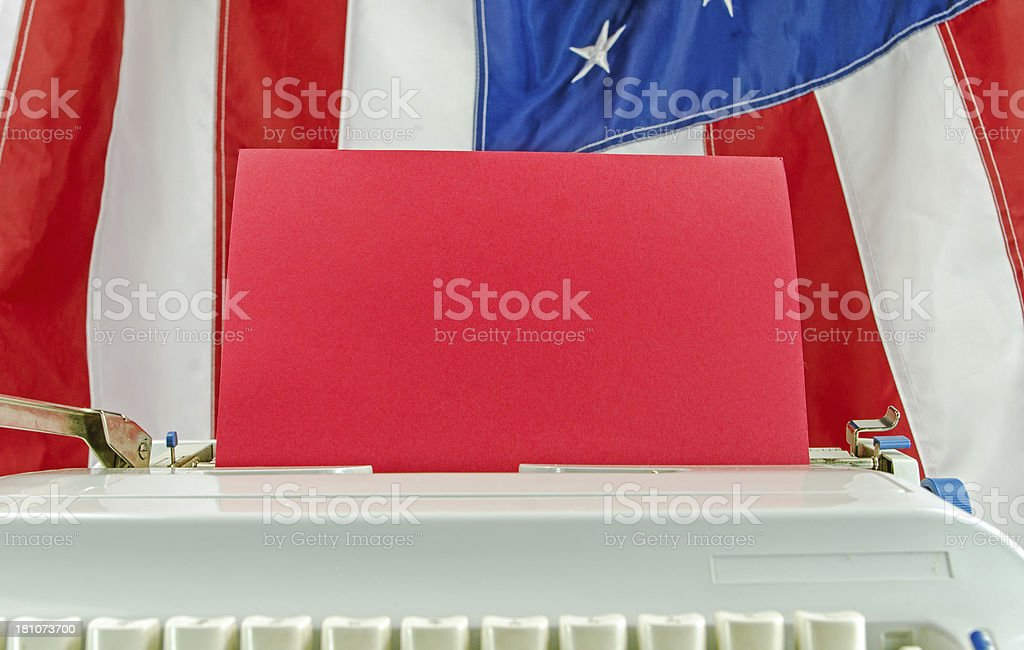Typewriter and USA Flag royalty-free stock photo
